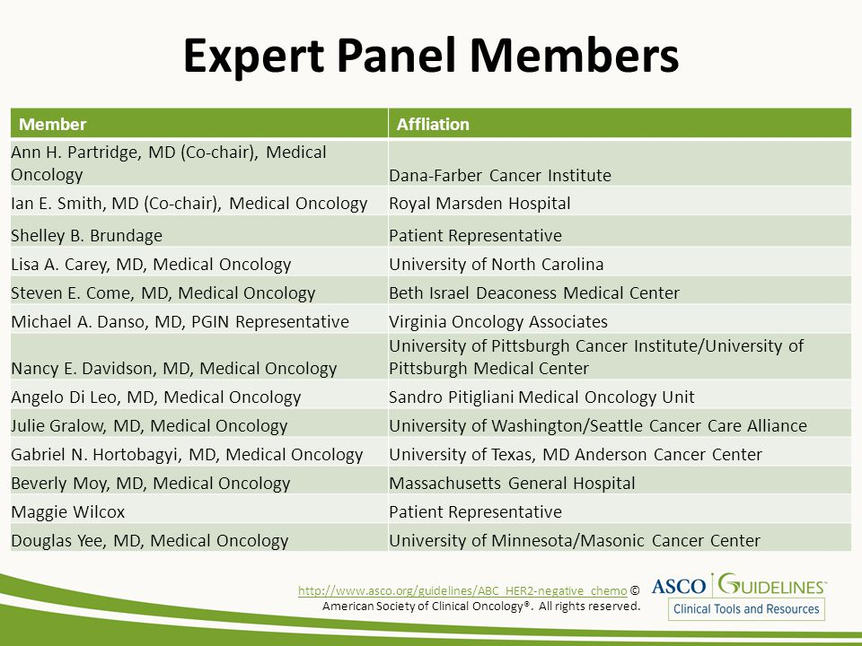 Expert Panel Members MemberAffliation Ann H. Partridge, MD (Co-chair), Medical OncologyDana-Farber Cancer Institute Ian E. Smith, MD (Co-chair), Medic
