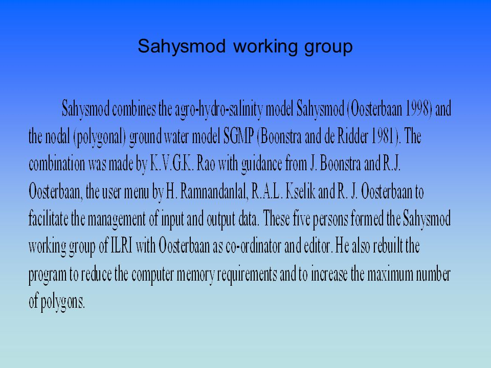 Sahysmod working group