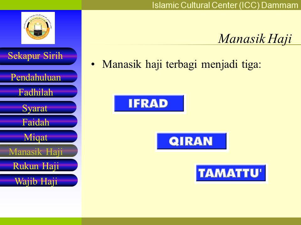 Islamic Cultural Center (ICC) Dammam Fadhilah Syarat Faidah Miqat Pendahuluan Sekapur Sirih Manasik Haji Rukun Haji Wajib Haji Dalil Tentang Kewajiban