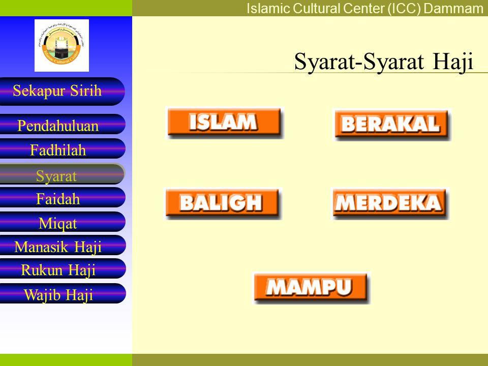 Islamic Cultural Center (ICC) Dammam Fadhilah Syarat Faidah Miqat Pendahuluan Sekapur Sirih Manasik Haji Rukun Haji Wajib Haji MIQAT Miqat terbagi menjadi dua: 1.