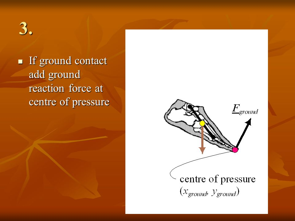 3. If ground contact add ground reaction force at centre of pressure If ground contact add ground reaction force at centre of pressure