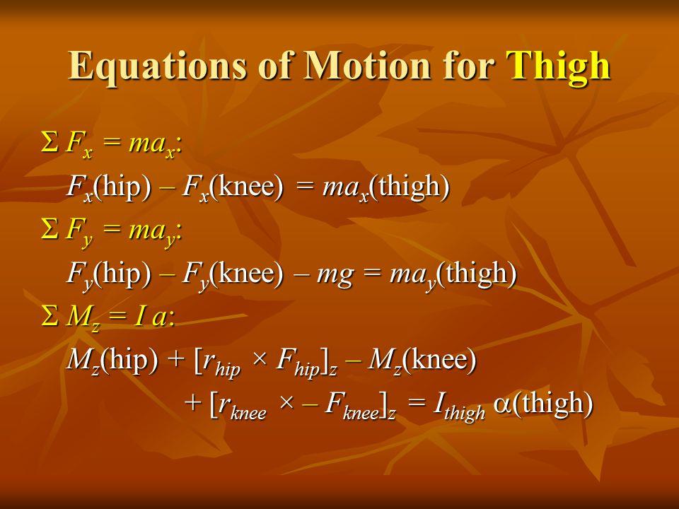 Equations of Motion for Thigh Σ F x = ma x : F x (hip) – F x (knee) = ma x (thigh) Σ F y = ma y : F y (hip) – F y (knee) – mg = ma y (thigh)  M z = I a: M z (hip) + [r hip × F hip ] z – M z (knee) + [r knee × – F knee ] z = I thigh  (thigh) + [r knee × – F knee ] z = I thigh  (thigh)