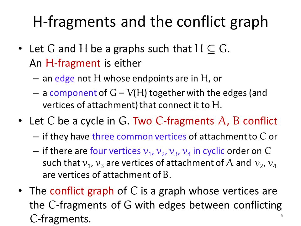 H-fragments and the conflict graph Let G and H be a graphs such that H µ G.