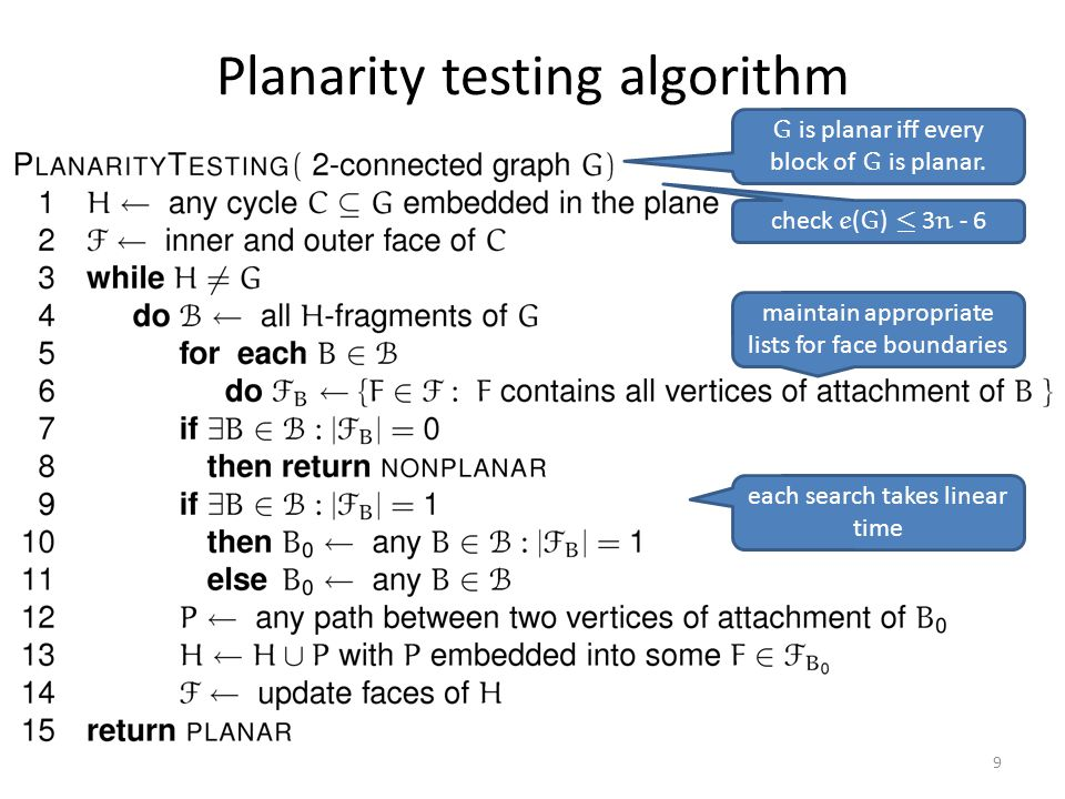 Planarity testing algorithm 9 maintain appropriate lists for face boundaries each search takes linear time G is planar iff every block of G is planar.