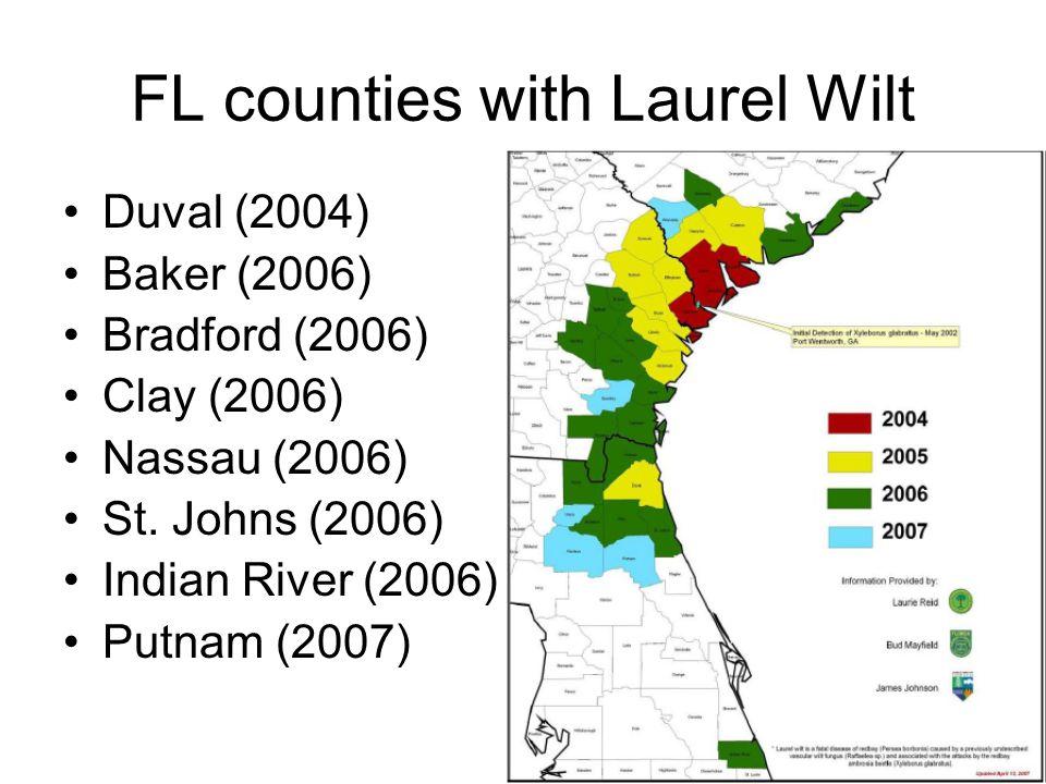 FL counties with Laurel Wilt Duval (2004) Baker (2006) Bradford (2006) Clay (2006) Nassau (2006) St. Johns (2006) Indian River (2006) Putnam (2007)
