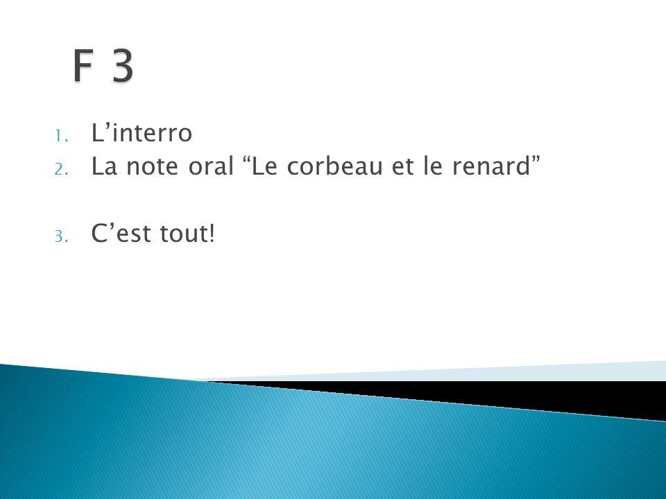 1. L'interro 2. La note oral Le corbeau et le renard 3. C'est tout!