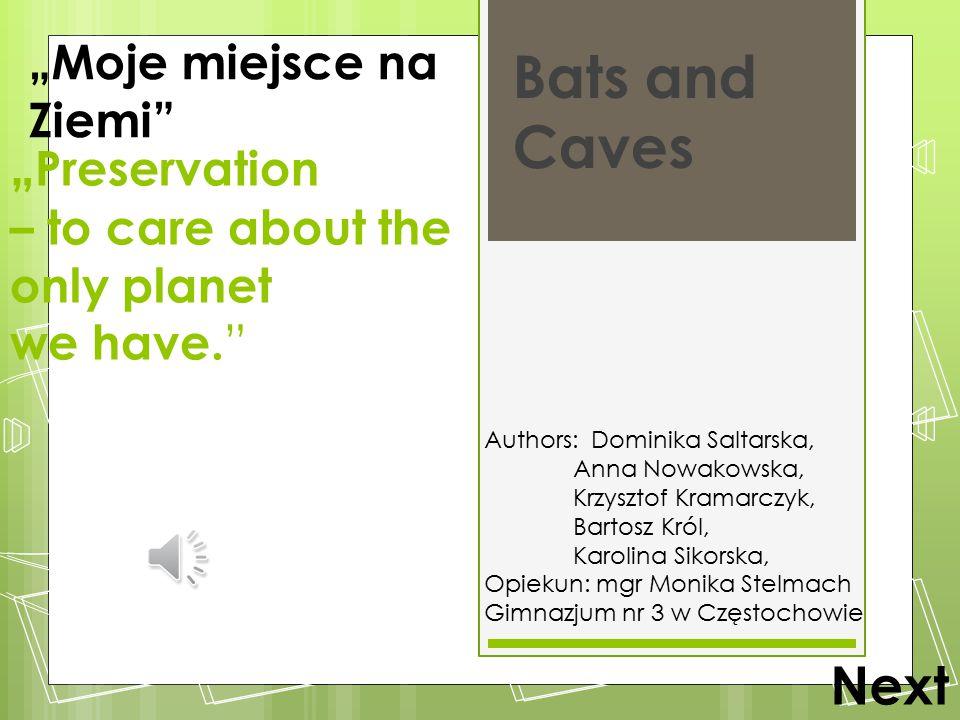 """ Preservation – to care about the only planet we have. "" Bats and Caves Authors: Dominika Saltarska, Anna Nowakowska, Krzysztof Kramarczyk, Bartosz K"