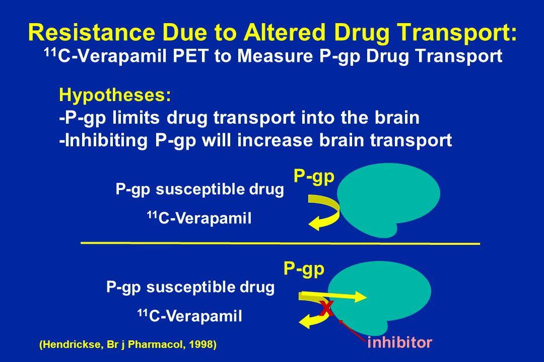 Resistance Due to Altered Drug Transport: 11 C-Verapamil PET to Measure P-gp Drug Transport P-gp P-gp susceptible drug 11 C-Verapamil P-gp P-gp suscep