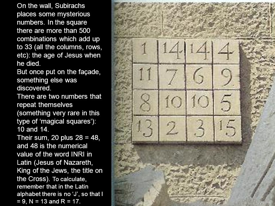On the wall, Subirachs places some mysterious numbers.