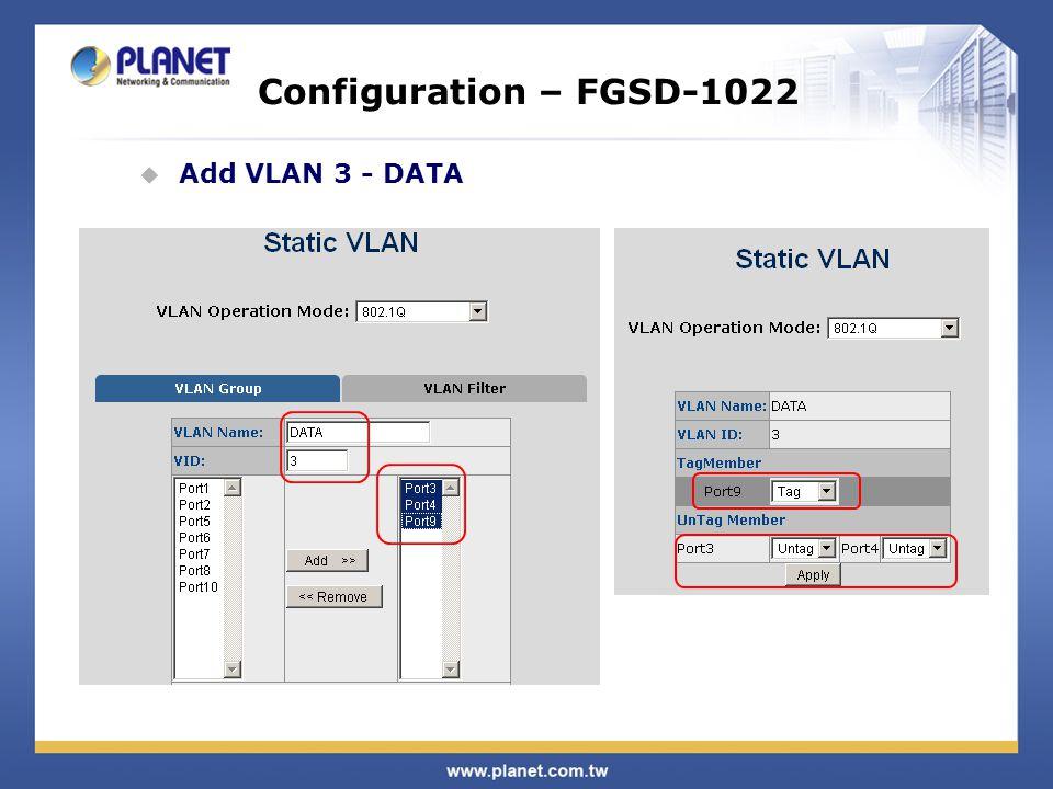 Configuration – FGSD-1022  Add VLAN 3 - DATA