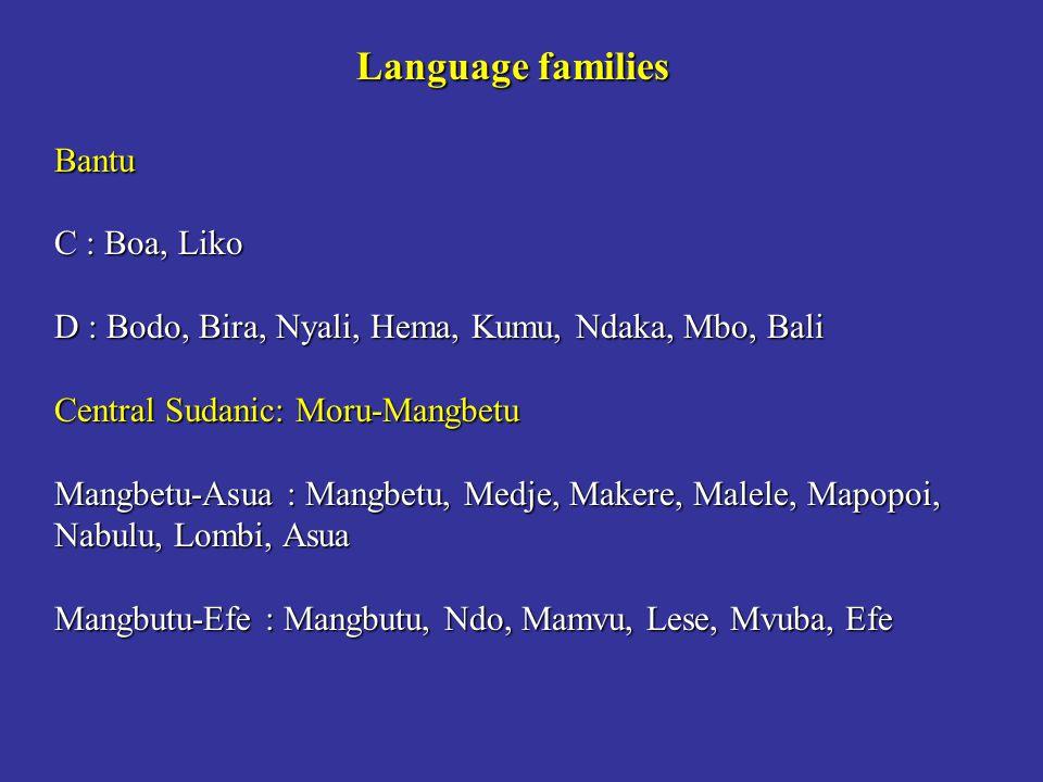 Language families Bantu C : Boa, Liko D : Bodo, Bira, Nyali, Hema, Kumu, Ndaka, Mbo, Bali Central Sudanic: Moru-Mangbetu Mangbetu-Asua : Mangbetu, Med