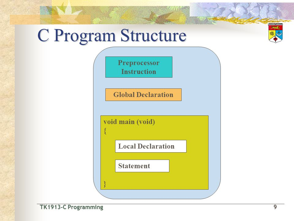 TK1913-C Programming10 TK1913-C Programming 10 Example of C Program #include void main(void) { printf( Welcome to UKM! ); } program Main function statement Preprocessor instruction