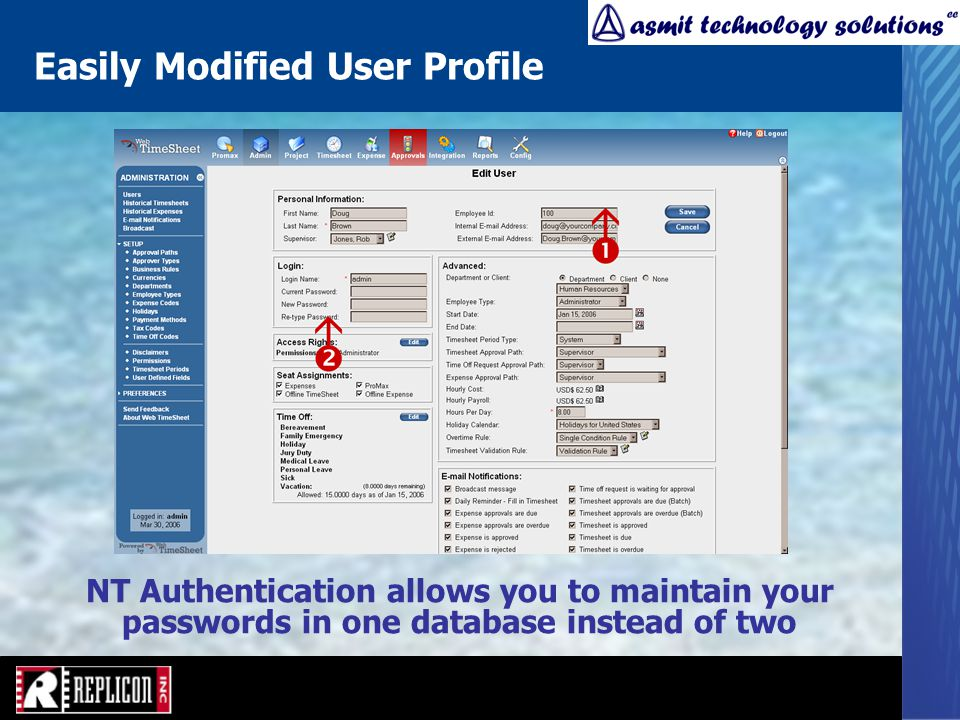 Easily Modified User Profile NT Authentication allows you to maintain your passwords in one database instead of two