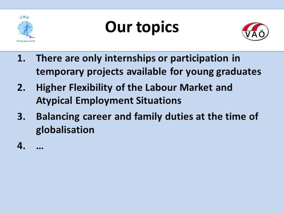 Our topics 1.There are only internships or participation in temporary projects available for young graduates 2.Higher Flexibility of the Labour Market and Atypical Employment Situations 3.Balancing career and family duties at the time of globalisation 4.…