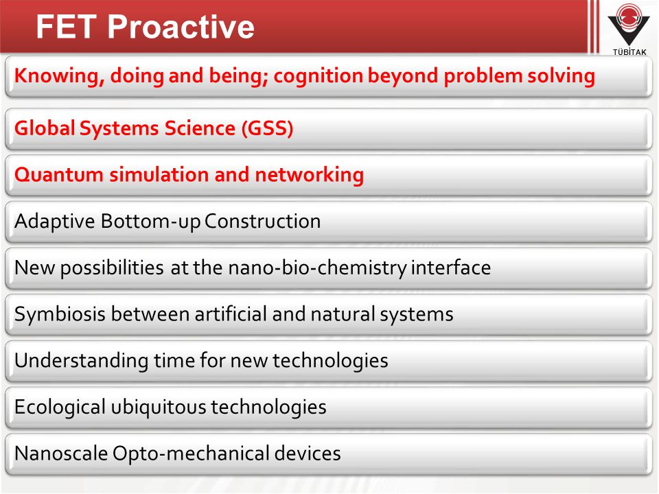 TÜBİTAK Knowing, doing and being; cognition beyond problem solvingGlobal Systems Science (GSS)Quantum simulation and networkingAdaptive Bottom-up ConstructionNew possibilities at the nano-bio-chemistry interfaceSymbiosis between artificial and natural systemsUnderstanding time for new technologiesEcological ubiquitous technologiesNanoscale Opto-mechanical devices FET Proactive