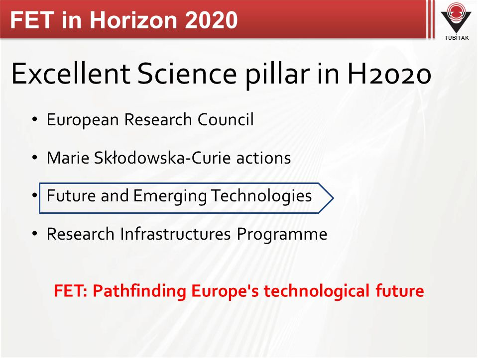 TÜBİTAK FET in Horizon 2020 Excellent Science pillar in H2020 European Research Council Marie Skłodowska-Curie actions Future and Emerging Technologies Research Infrastructures Programme FET: Pathfinding Europe s technological future