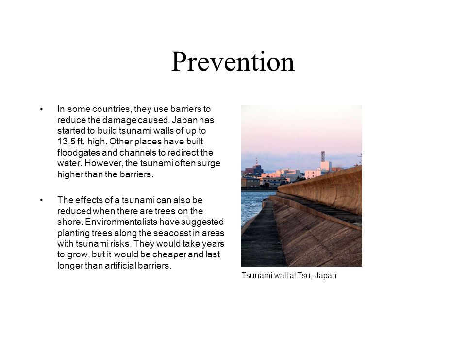 Prevention In some countries, they use barriers to reduce the damage caused.