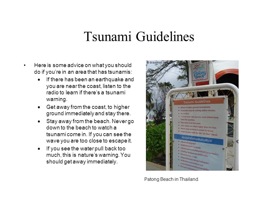 Tsunami Guidelines Here is some advice on what you should do if you're in an area that has tsunamis:  If there has been an earthquake and you are nea