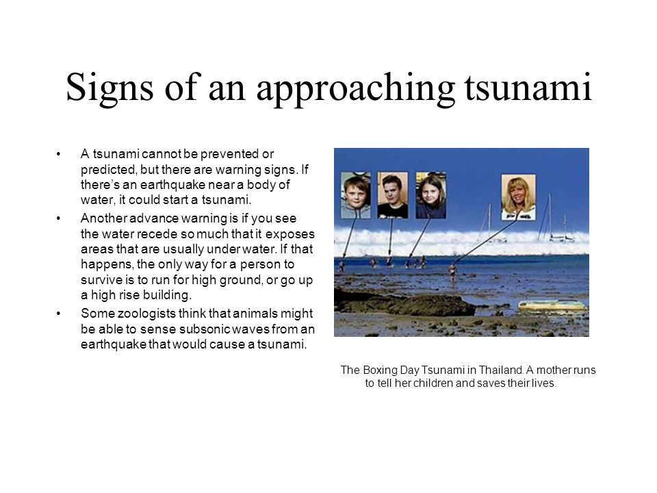Signs of an approaching tsunami A tsunami cannot be prevented or predicted, but there are warning signs.