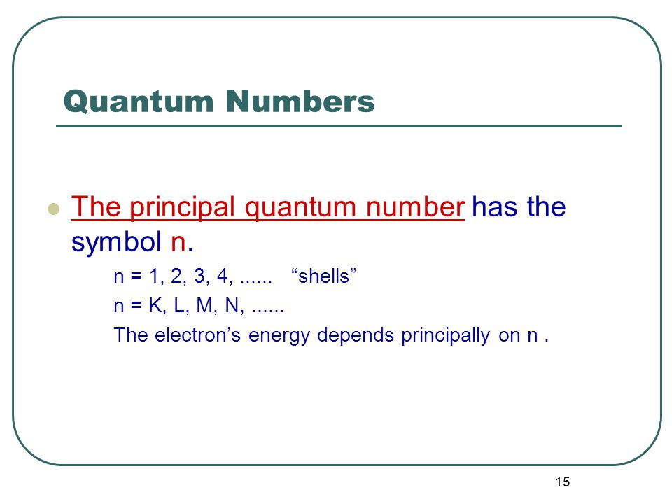 15 Quantum Numbers The principal quantum number has the symbol n.