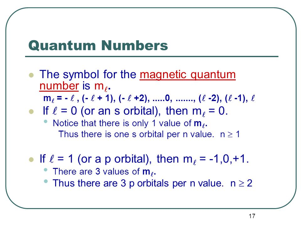17 Quantum Numbers The symbol for the magnetic quantum number is m.