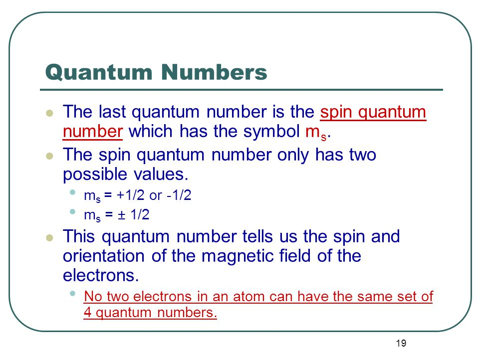 19 Quantum Numbers The last quantum number is the spin quantum number which has the symbol m s.