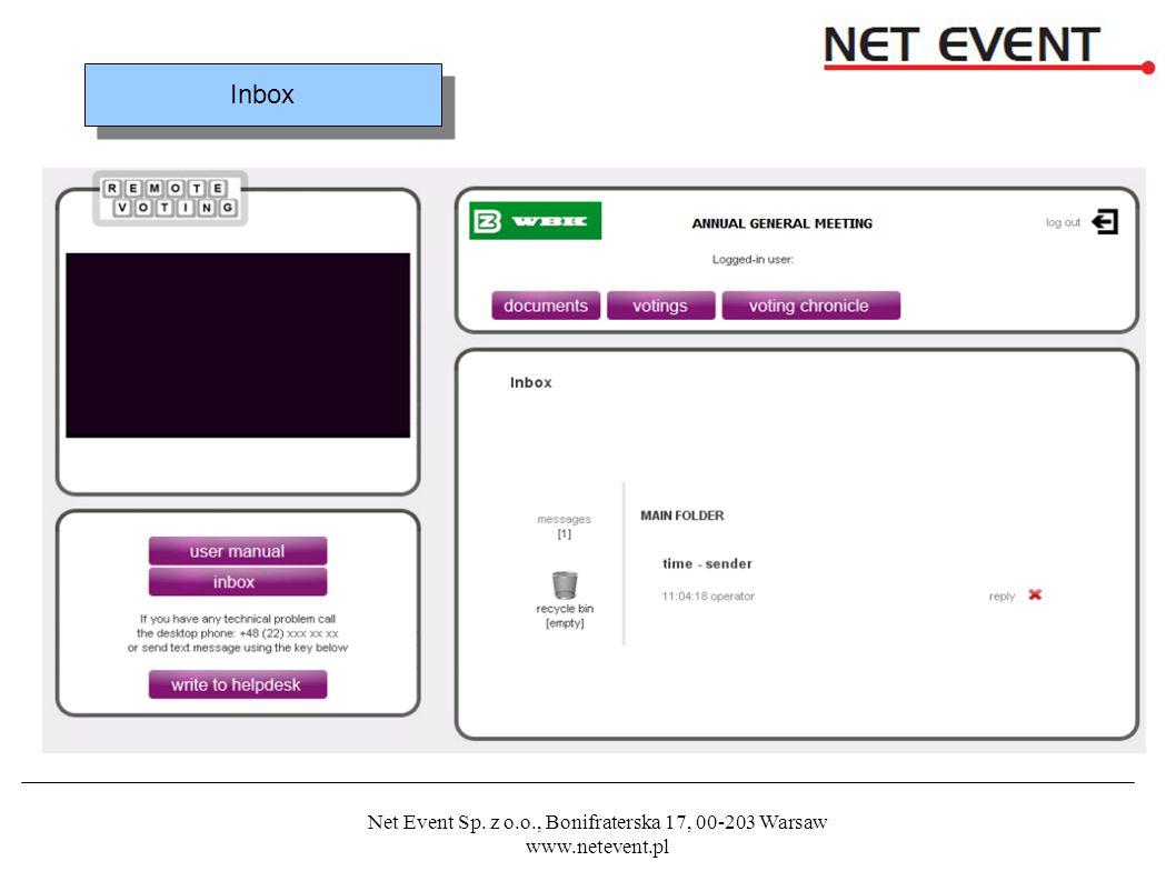 Net Event Sp. z o.o., Bonifraterska 17, 00-203 Warsaw www.netevent.pl Inbox