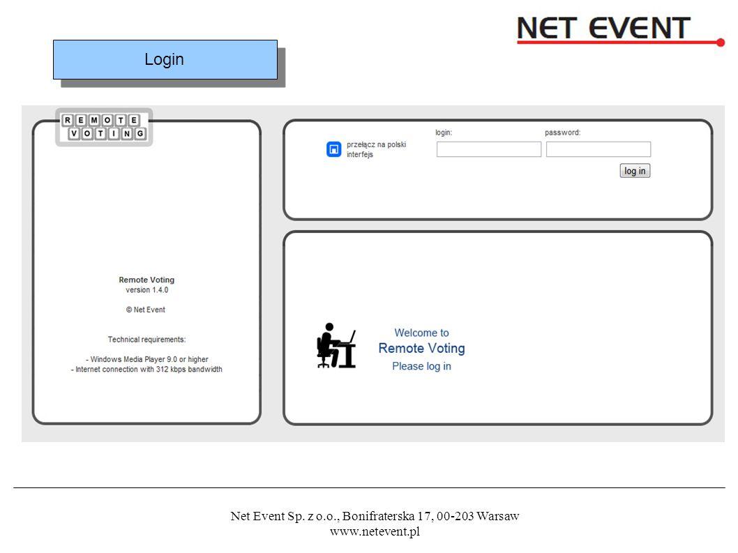 Net Event Sp. z o.o., Bonifraterska 17, 00-203 Warsaw www.netevent.pl Login