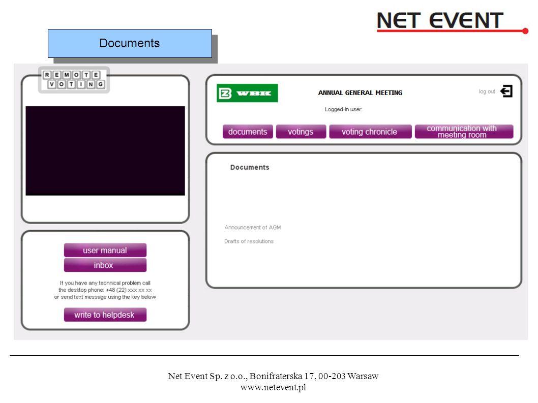 Net Event Sp. z o.o., Bonifraterska 17, 00-203 Warsaw www.netevent.pl Documents