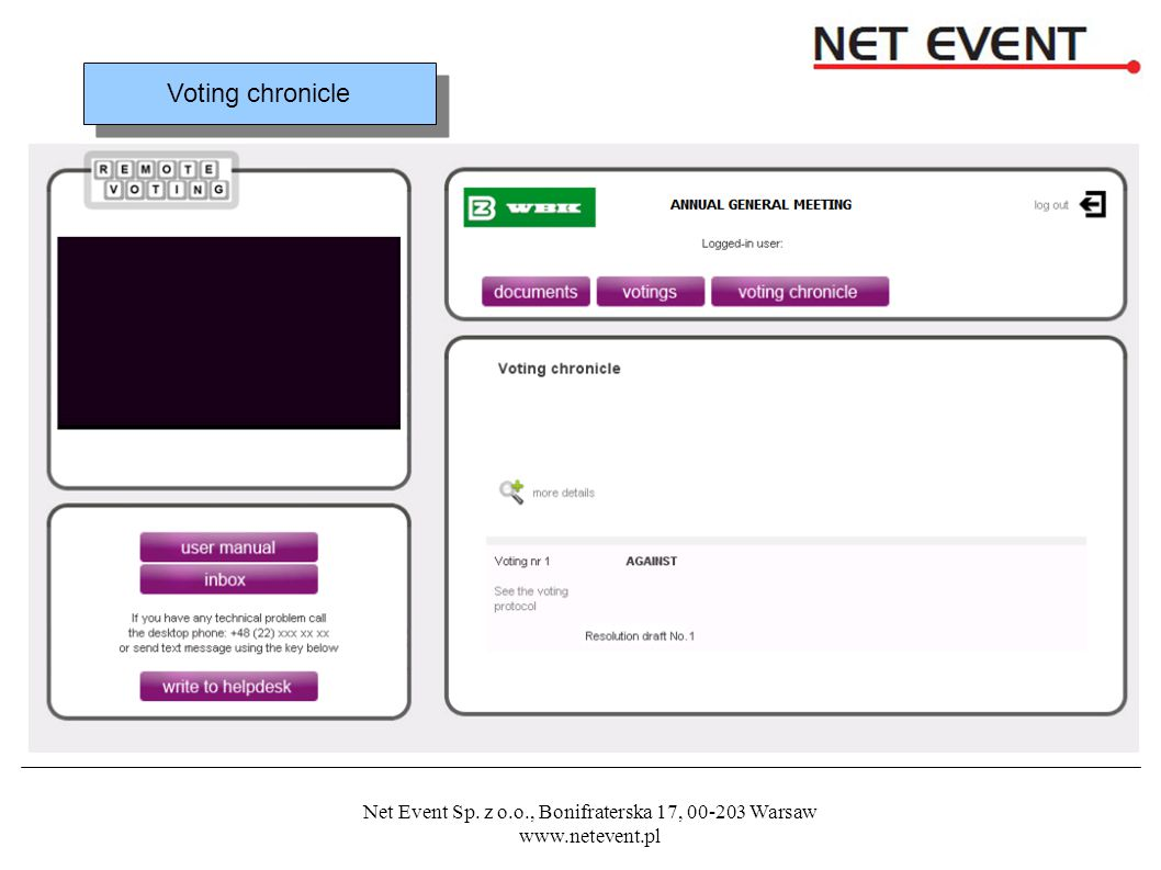 Net Event Sp. z o.o., Bonifraterska 17, 00-203 Warsaw www.netevent.pl Voting chronicle