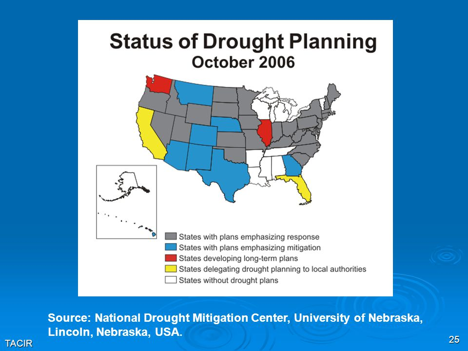TACIR 25 Source: National Drought Mitigation Center, University of Nebraska, Lincoln, Nebraska, USA.