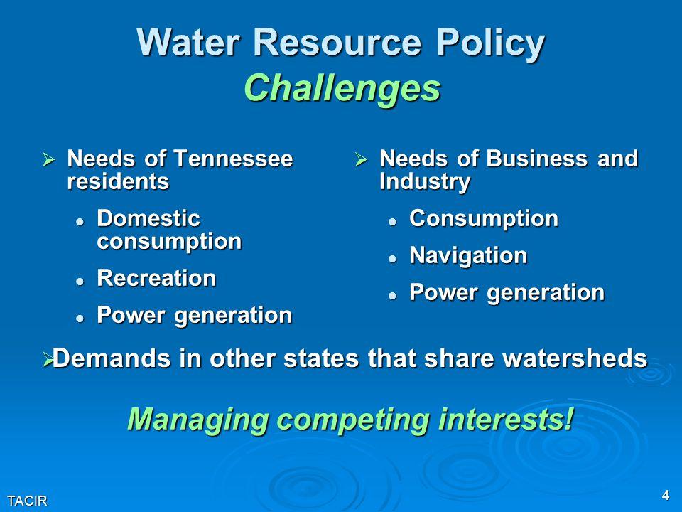 TACIR 4 Water Resource Policy Challenges  Needs of Tennessee residents Domestic consumption Domestic consumption Recreation Recreation Power generati