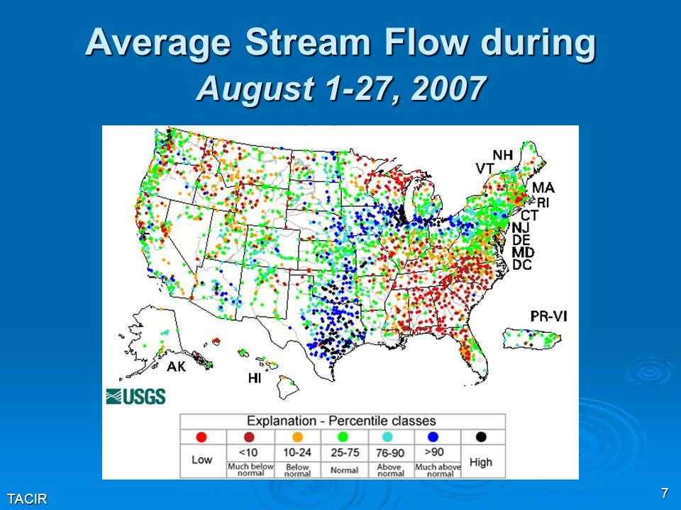 TACIR 7 Average Stream Flow during August 1-27, 2007