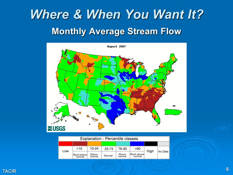 TACIR 8 Where & When You Want It? Monthly Average Stream Flow