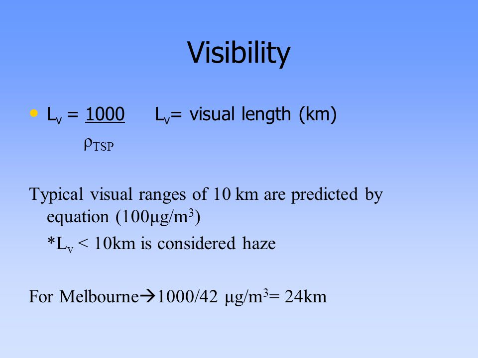 Visibility L v = 1000 L v = visual length (km) ρ TSP Typical visual ranges of 10 km are predicted by equation (100μg/m 3 ) *L v < 10km is considered haze For Melbourne  1000/42 μg/m 3 = 24km