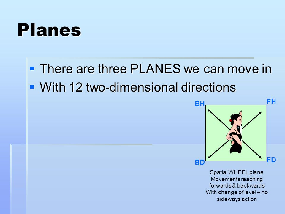 Planes  There are three PLANES we can move in  With 12 two-dimensional directions Spatial WHEEL plane Movements reaching forwards & backwards With change of level – no sideways action BH FH FD BD