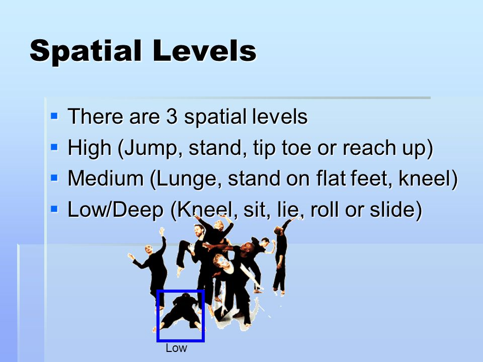 Spatial Levels  There are 3 spatial levels  High (Jump, stand, tip toe or reach up)  Medium (Lunge, stand on flat feet, kneel)  Low/Deep (Kneel, sit, lie, roll or slide) Low
