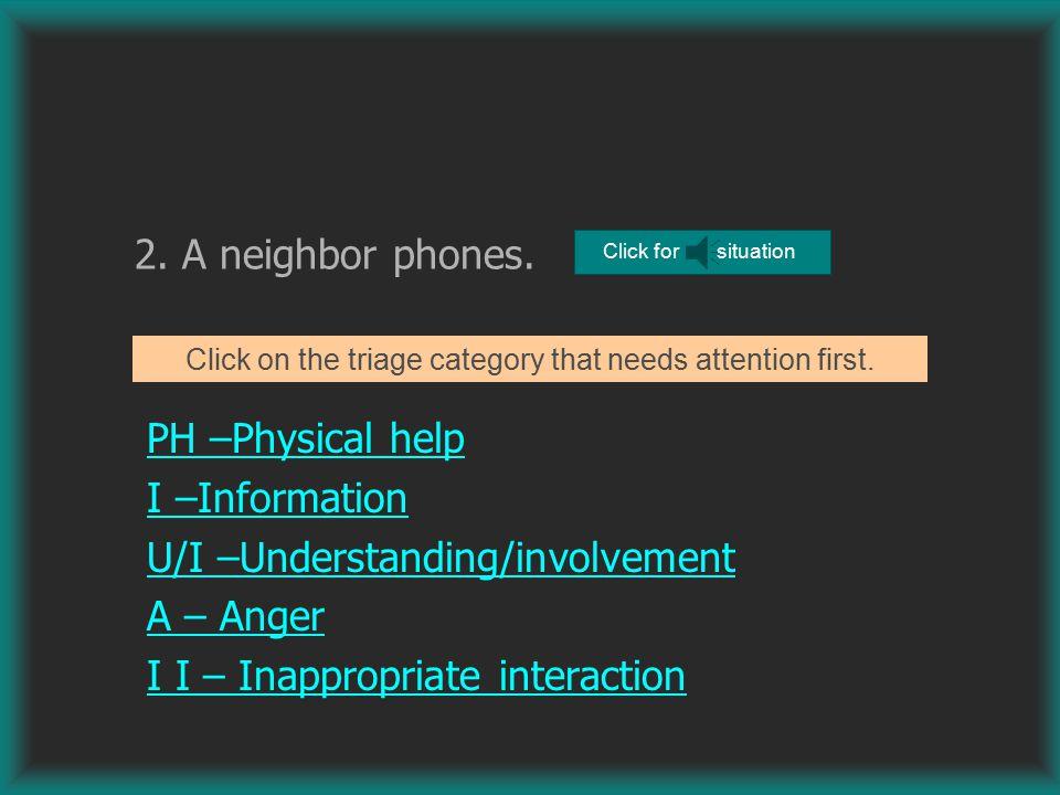 2.A neighbor phones.