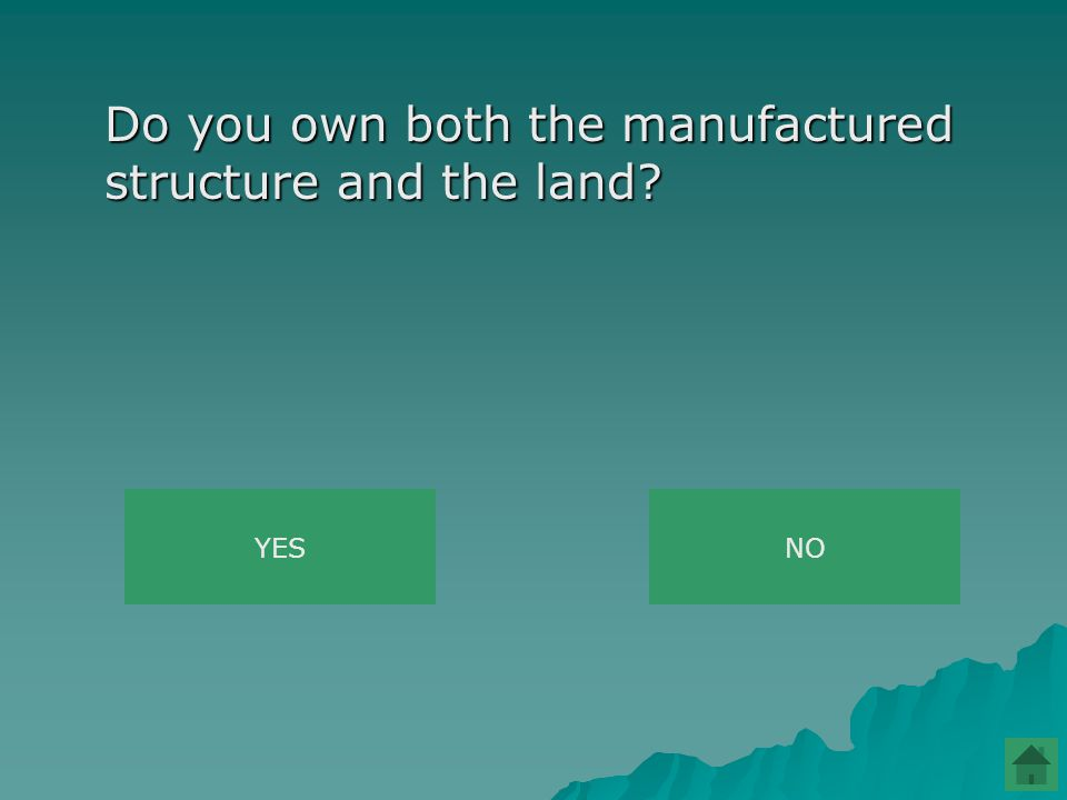 Do you own both the manufactured structure and the land YESNO