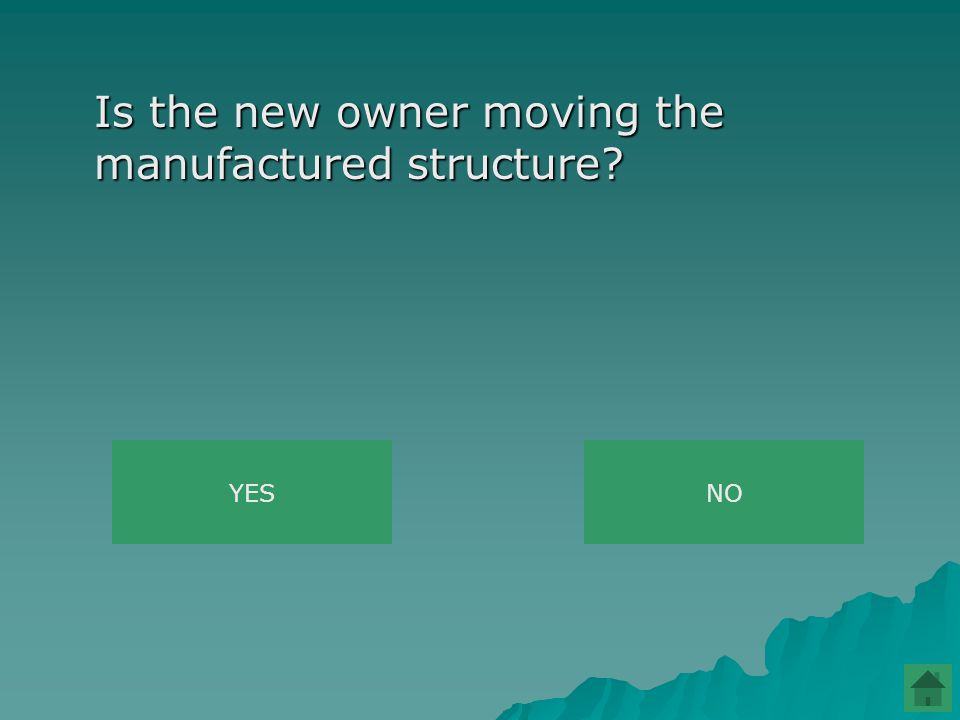 Is the new owner moving the manufactured structure YESNO