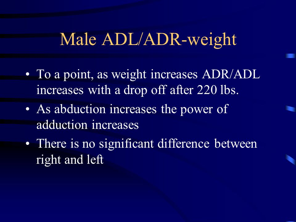 Male ADL/ADR-weight To a point, as weight increases ADR/ADL increases with a drop off after 220 lbs.