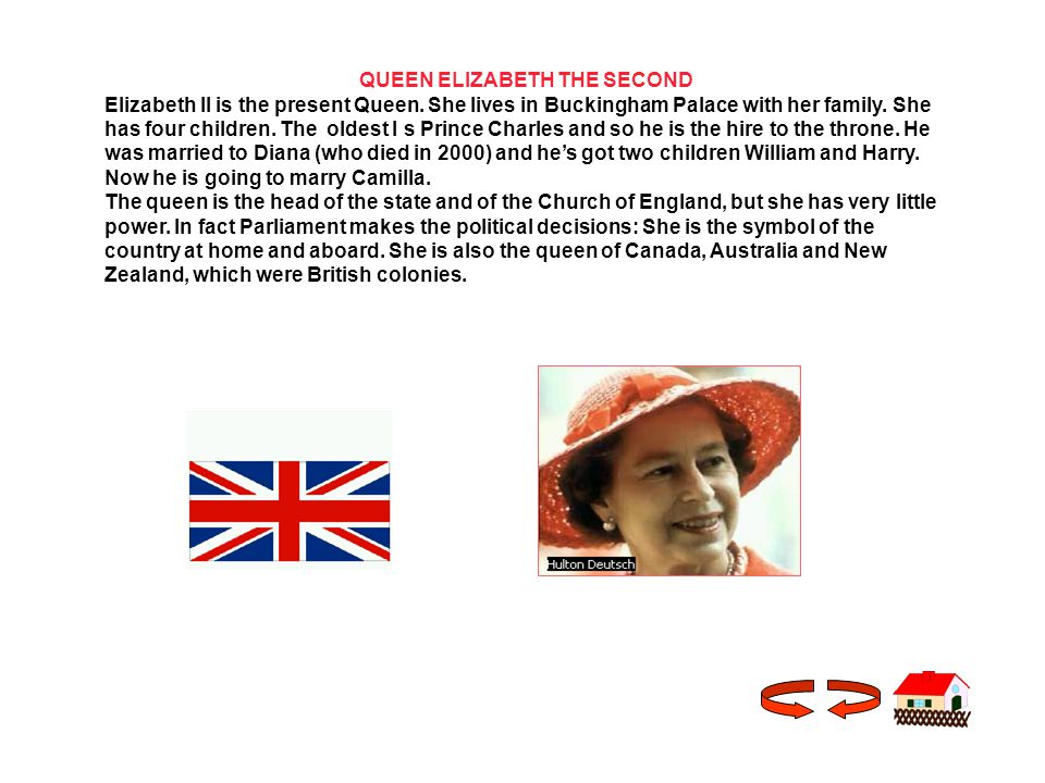 QUEEN ELIZABETH THE SECOND Elizabeth II is the present Queen.