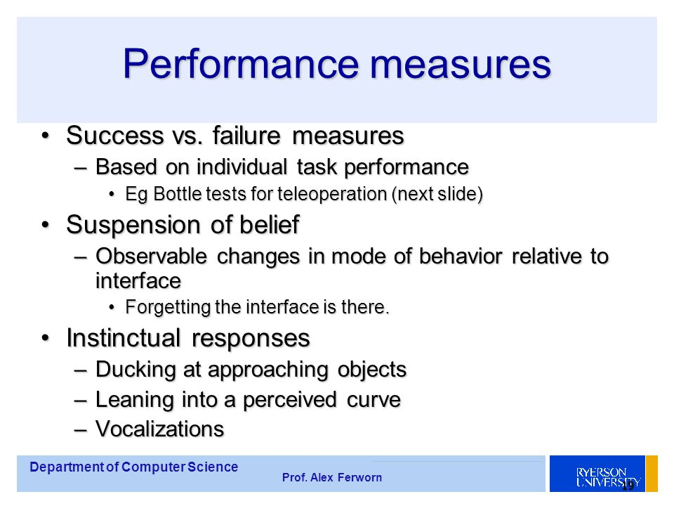 Department of Computer Science Prof. Alex Ferworn 19 Performance measures Success vs.