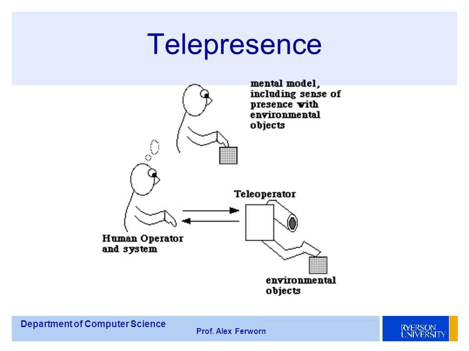 Department of Computer Science Prof. Alex Ferworn Telepresence