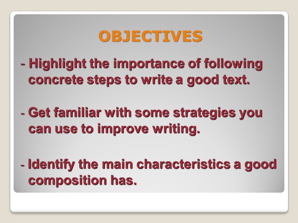 THE WRITING PROCESS … Writing Writing Organize ideas and write the first draft Polishing Polishing Check organization, vocabulary, grammar, punctuation Pre-writing Pre-writing Choose a topic and narrow it down Collect information and / or brainstorm ideas