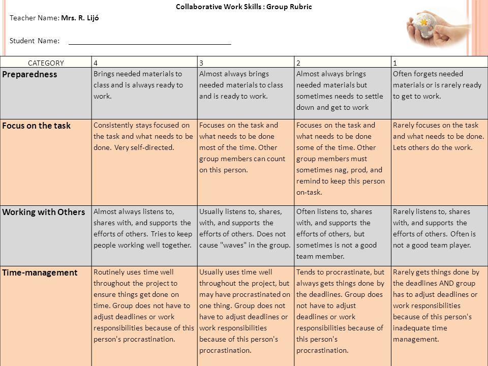 Collaborative Work Skills : Group Rubric Teacher Name: Mrs.