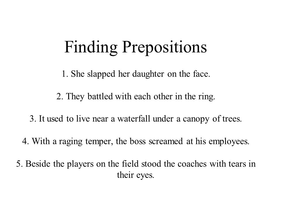 Finding Prepositions 1. She slapped her daughter on the face.