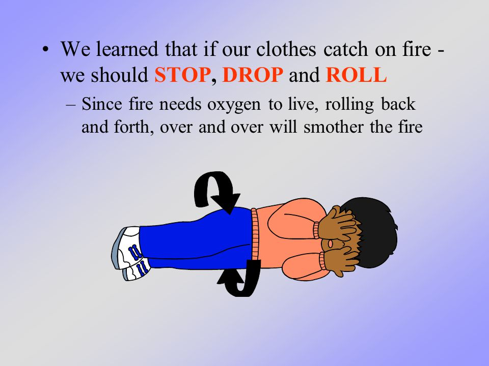 We learned that if our clothes catch on fire - we should STOP, DROP and ROLL –Since fire needs oxygen to live, rolling back and forth, over and over w
