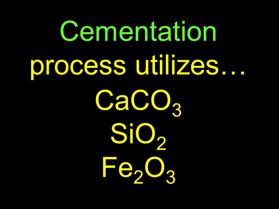 61 Cementation process utilizes… CaCO 3 SiO 2 Fe 2 O 3