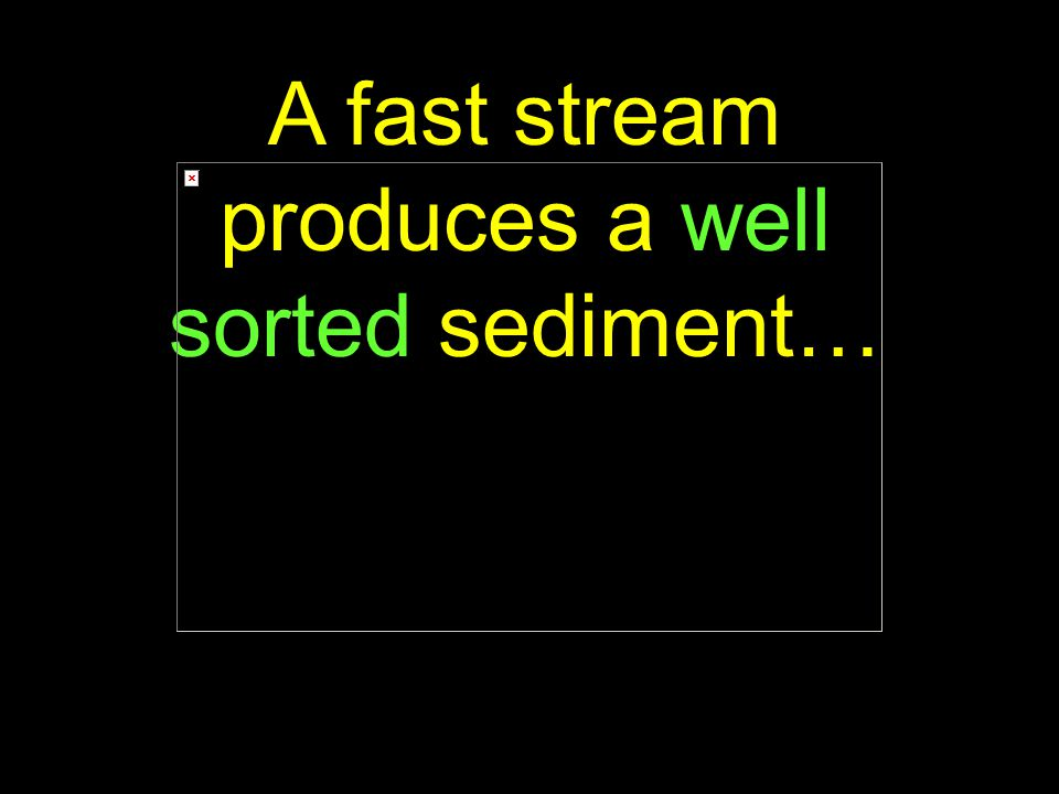 77 A fast stream produces a well sorted sediment…